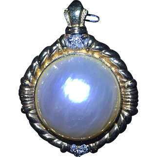 Diamond and Oversized Cultured Half Sphere Mabe Pearl 14 karat gold Pendant