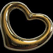 TIFFANY & CO. Elsa Peretti 18-karat (750) Yellow gold Reversible Open Heart 3-diamond pendant/charm.