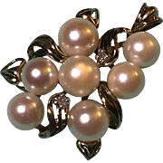 Designers Heng Ngai (HN) Cultured pearls and diamond accents (0.02 cwt.) Grape design 10k yellow gold charm