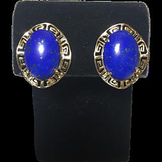 Lapis Lazuli Greek Key pattern frame 14k YG  Omega back pierced earrings
