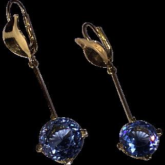 Sky Blue Topaz (14 cwt.) 14K YG dangling earrings