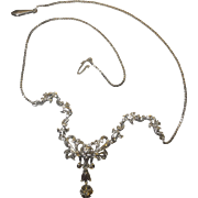 Vintage Italian 18k (750) White gold 0.42 cwt. diamond Edwardian/ Victorian style Bridal collar necklace (16.5 inch) c.1944-1968