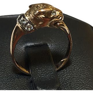 Panther ring Russian rose gold 583 (14k) Statement Size 8 CZ accents Vintage c.1990s