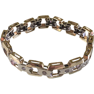 Men 14karat two-tone yellow and white gold (38.9g) diamond (1.40 carat) bracelet