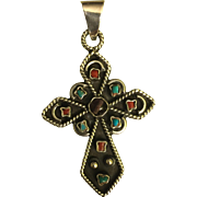 Vintage Sterling silver 925 turquoise coral tiger eye Cross Pendant