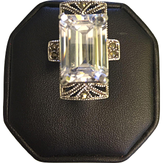 Silver 925 Cocktail Ring Emerald cut Crystal Sz 7