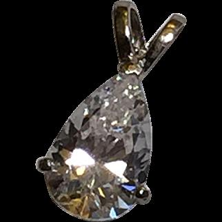 CZ Solitaire 3/4 cwt. Pear charm/pendant 14-karat white gold