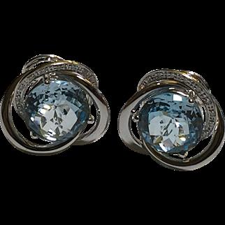 Love Knot 14k White Gold Aquamarine Omega Pierced Earrings by William Lam & Co WLC