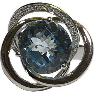 Love Knot 14k White Gold Aquamarine Cocktail Ring by William Lam & Co Size US 7.5