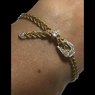 Striking Retro diamonds & 14k YG-WG Buckle bracelet Estate Vintage c.1980s