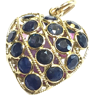 Sapphire and Ruby 14k Reversible Puffy Heart Pendant
