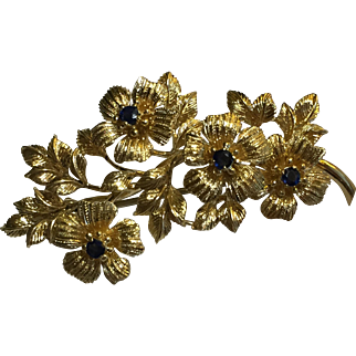 Tiffany&Co. 18k Italy Retro Floral Motif Sapphire Brooch/Pin c.1960s