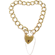 Victorian Style 9Ct English Padlock Heart Link Bracelet