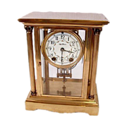 Seth Thomas Brass And Crystal Mantel Clock