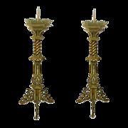 Pr Gothic Revival Bronze Pricket Candlsticks C 1860
