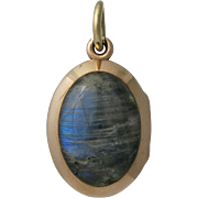 14K Gold Victorian Labradorite and Carnelian Locket