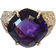 14K Gold Amethyst and Diamond Cocktail Ring