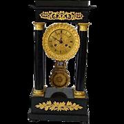 Neoclassical French Portico Clock Circa 1840