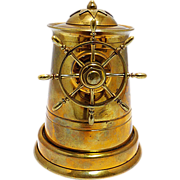 Brass Nautical Ship's Wheel Cigarette Dispenser C 1920