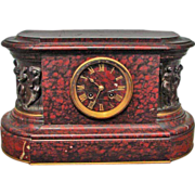French Renaissance Style Marble Clock Barbedienne