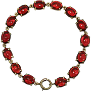 Antique 14K Gold Cabochon Garnet Bracelet