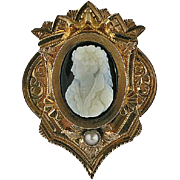 14K Gold Victorian Large Carved Stone Cameo Slide