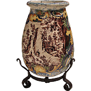 Large Italian Faience Urn On Stand 1920 - Red Tag Sale Item