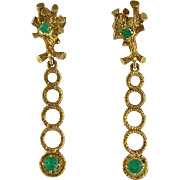 Vintage 18K Gold and Emerald Pierced Post Earrings