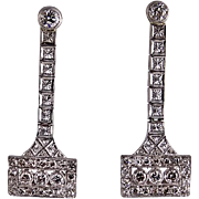 Art Deco Platinum and Diamond Filigree Pierced Earrings