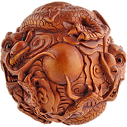 Japanese Meiji Carved Boxwood Dragon Ball