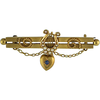 Victorian 15Ct Cultured Pearl Lyre and Sapphire Heart Bar Pin