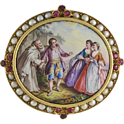19th Century 18K Gold, Ruby & Cultured Pearl Swiss Enamel Brooch