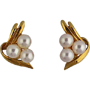 18K Gold Mikimoto Cultured Pearl Pierced Earrings