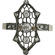 Edwardian 14K White Gold and Diamond Filigree Ring