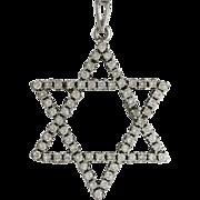 Vintage 18K White Gold Diamond Star Of David Pendant