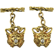 18K Gold And Diamond Victorian Lion And Snake Cufflinks