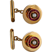 14K Rose Gold, Ruby, and Cultured Pearl Retro Cufflinks 1940's