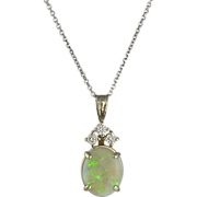 14K White Gold Opal and Diamond Pendant on Chain