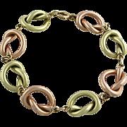 "Retro Period 14K Rose and Yellow Gold ""Pretzel"" Link Bracelet"
