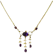 Edwardian 9ct Gold Amethyst & Cultured Seed Pearl Necklace