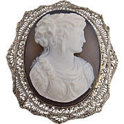 Edwardian 14K White Gold Filigree Hard Stone Cameo Brooch