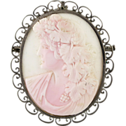 Victorian Silver & Carved Conch Shell Bachhus Cameo Brooch