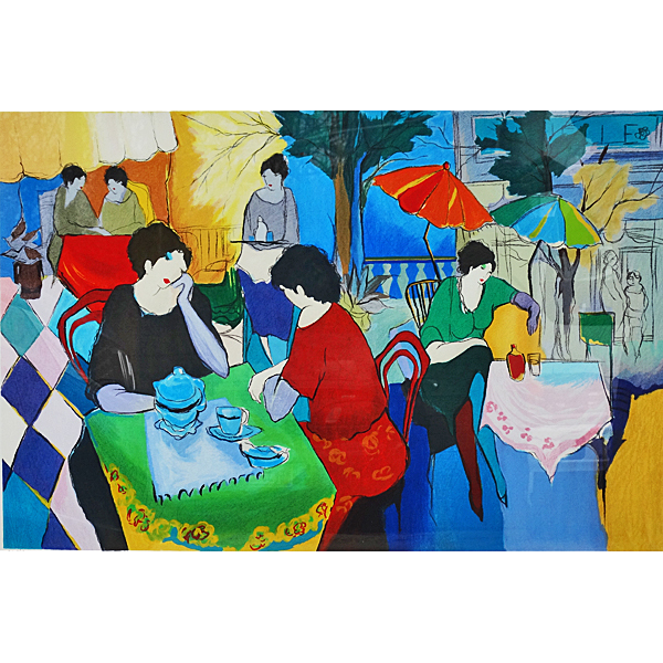 Itzchak Tarkay Cafe Danielle Large Serigraph From Acanthusantiques On Ruby Lane