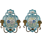 Pair Of Italian Faience Pottery Sconces