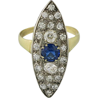 Victorian 14K Gold Navette Shaped Diamond & Sapphire Ring