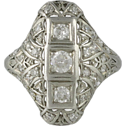 Edwardian Platinum and Diamond Filigree Ring