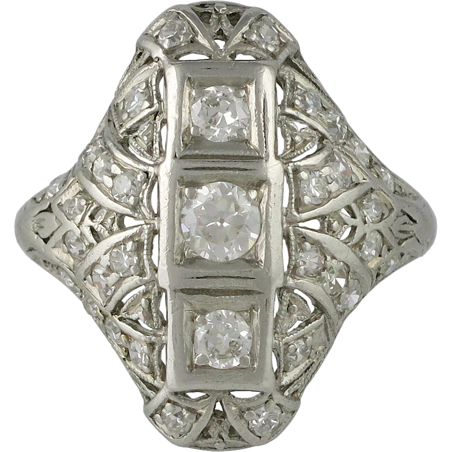 edwardian platinum and filigree ring from