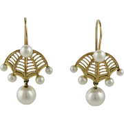 Vintage 14K Gold Cultured Pearl Umbrella Pierced Earrings