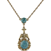 Victorian Style 14K Gold Natural Blue Zircon Necklace