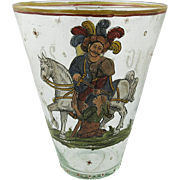 19th Century Continental Enamel Decorated Glass Tumbler